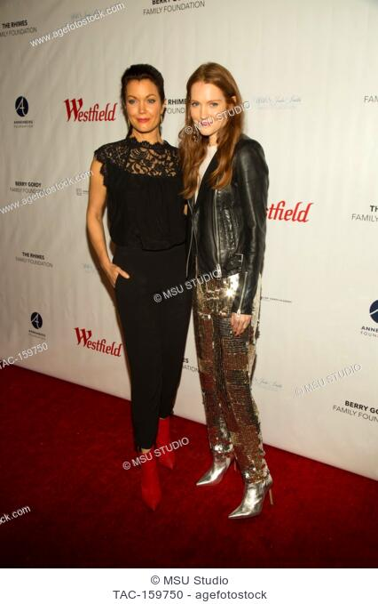 Bellamy Young and Darby Stanchfield attend Sunday Matinee of 'Turn Me Loose' at Wallis Annenberg Center for the Performing Arts on October 15