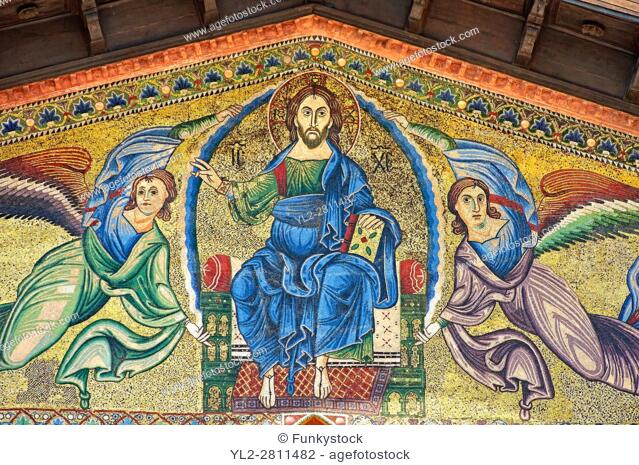 Close up of the 13th century Byzantine Mosaic panel depicting Christ Pantocrator with angels on the Basilica of San Frediano, a Romanesque church, Lucca