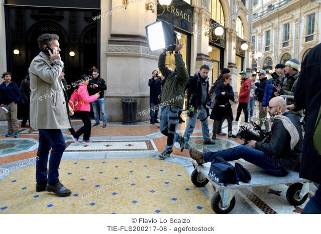 the chef Carlo Cracco shoot a commercial in the Galleria Vittorio Emanuele II, Milan, 20-02-2017