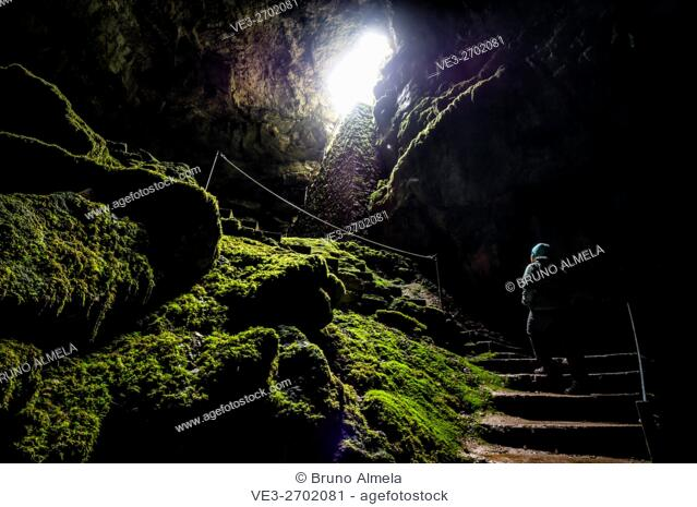 Inside Alcorón Chasm near Villanueva de Alcorón, in Alto Tajo Natural Park, (Guadalajara Province, Castilla- La Mancha Region, Spain)