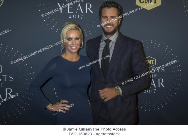 NASHVILLE, TN - Luke Bryan and wife Caroline Boyer arrive on the red carpet at the 2017 CMT Artists of the Year at the Schermerhorn Symphony Center in Nashville