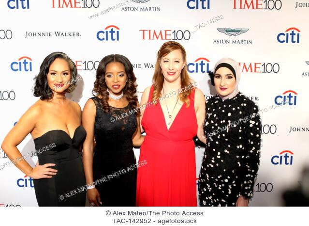 Women's March National Co-Chairs Carmen Perez, Bob Bland, Tamika D. Mallory, and Linda Sarsour attend the 2017 Time 100 Gala at Jazz at Lincoln Center on April...