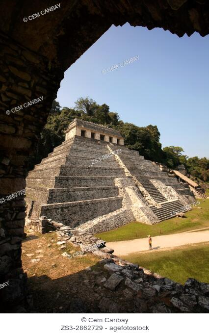 Framed view to the Temple of Inscriptions at the Palenque Archaeological Site, Palenque, Chiapas State, Mexico, Central America