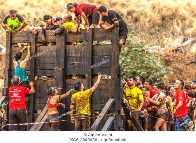 Canary Infinity Xtreme spartan race competition 2017. Puerto de la Cruz. Tenerife island. Spain