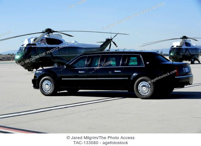 The Presidents limo aka The Beast with Nighthawks at LAX Airport on February 11th, 2016 in Los Angeles, California