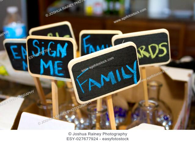 Chalk signs for wedding decor at this reception