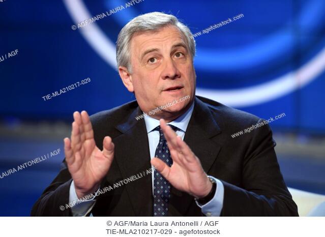 President of European Parliament Antonio Tajani at tv show Porta a porta, Rome, ITALY-20-02-2017